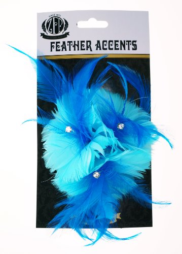 Zucker Feather (TM) - Feather Corsage-Coquille-Hackle-Jewel - Lt Turq/Dk Turq Light Turquoise ()