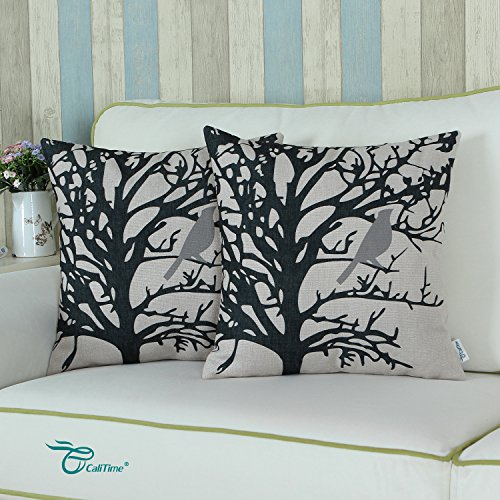 Calitime Canvas Throw Pillow Cover Case For Couch Sofa