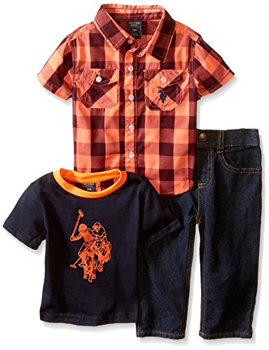 U.S. Polo Assn. Baby Boys' Buffalo Plaid Sport Shirt, Logo T-Shirt and Denim Jean, Red Plaid/Blue, 12 Months (Tee Plaid Logo)