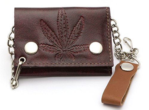 Trifold-USA-Made-Brown-Leather-Biker-Wallet-with-Marijuana-Leaf-Design-w-Chain