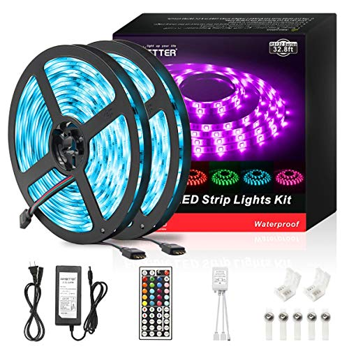 DAYBETTER Led Strip Lights 32.8ft Waterproof Flexible Tape Lights Color Changing 5050 RGB 300 LEDs Light Strips Kit with 44 Keys IR Remote Controller and 12V Power Supply for Home, Bedroom, Kitchen]()