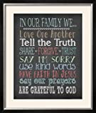 ArtEdge Faith Family Rules by Jo Moulton, Size 28W x 33H, Frame is Wood with a Gesso finish