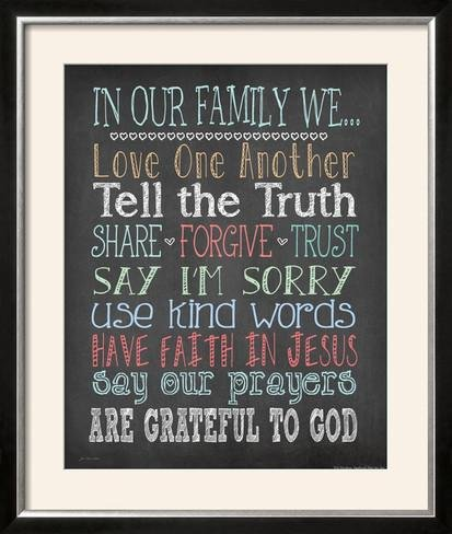 ArtEdge Faith Family Rules by Jo Moulton, Size 28W x 33H, Frame is Wood with a Gesso finish by ArtEdge
