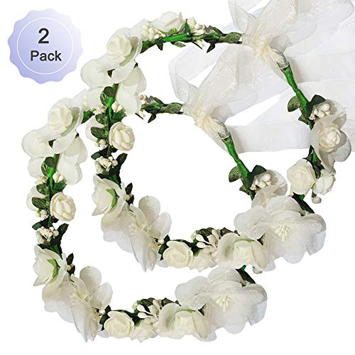 Flower Crown Headband Rattan Vine Wreath Garland Floral Wedding Bridal Hair Hoop Leaf Ribbon Party Decoration Headdress Headwear Christmas Handmade Headpiece Girls Kids Hair Accessories 2 Pack Beige