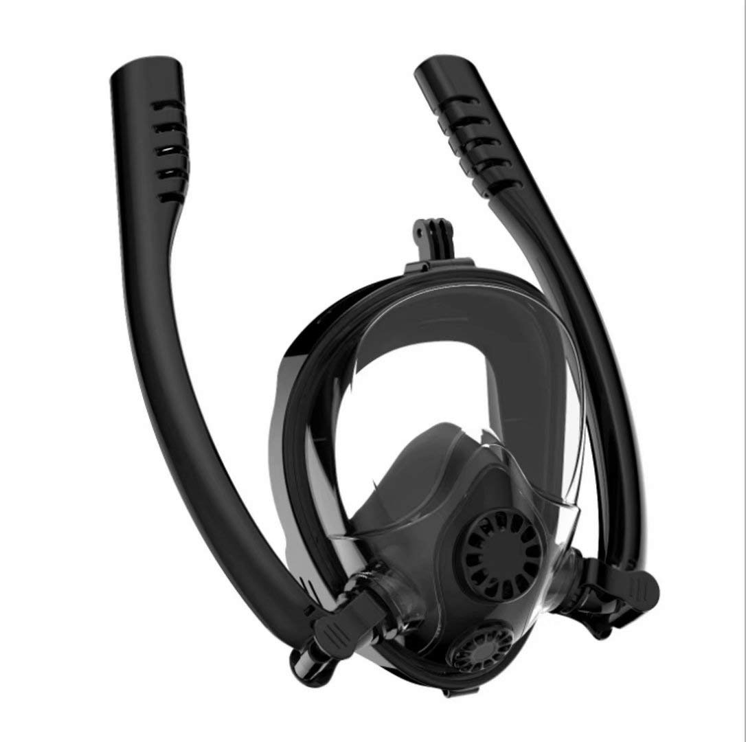 VAZILLIO Full Face Snorkel Mask, Patented Safe Breathing Separation Professional Snorkeling Mask With 180°Undistorted Panoramic View, Anti-Fog Anti-Leak Diving Mask With Camera Mount For Adult by HJKB