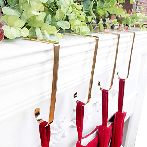 2018 Skidproof Christmas Stocking Holder Hook Hanger Fireplace  Gold Set of 4