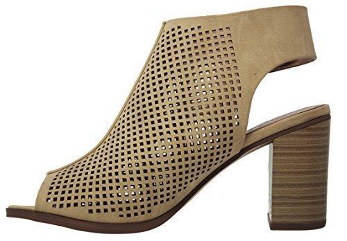 City Classified Peep Toe Ankle Strap Sandal Western Bootie Low Stacked Heel Open Toe Cutout Velcro MVE Shoes, MVE Shoes Roadway Beige NB Size 10 (Pump Stacked Heel Shoe)