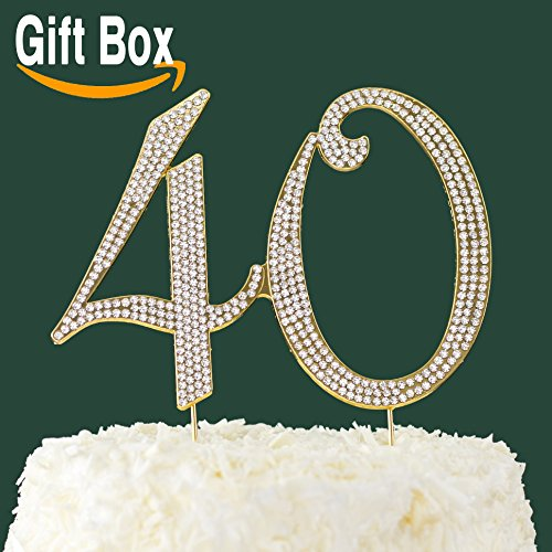 LOVENJOY-Gift-Box-40-Rhinestone-Cake-Topper-for-40th-Birthday-Anniversary-Decoration-Gold-6-X-45