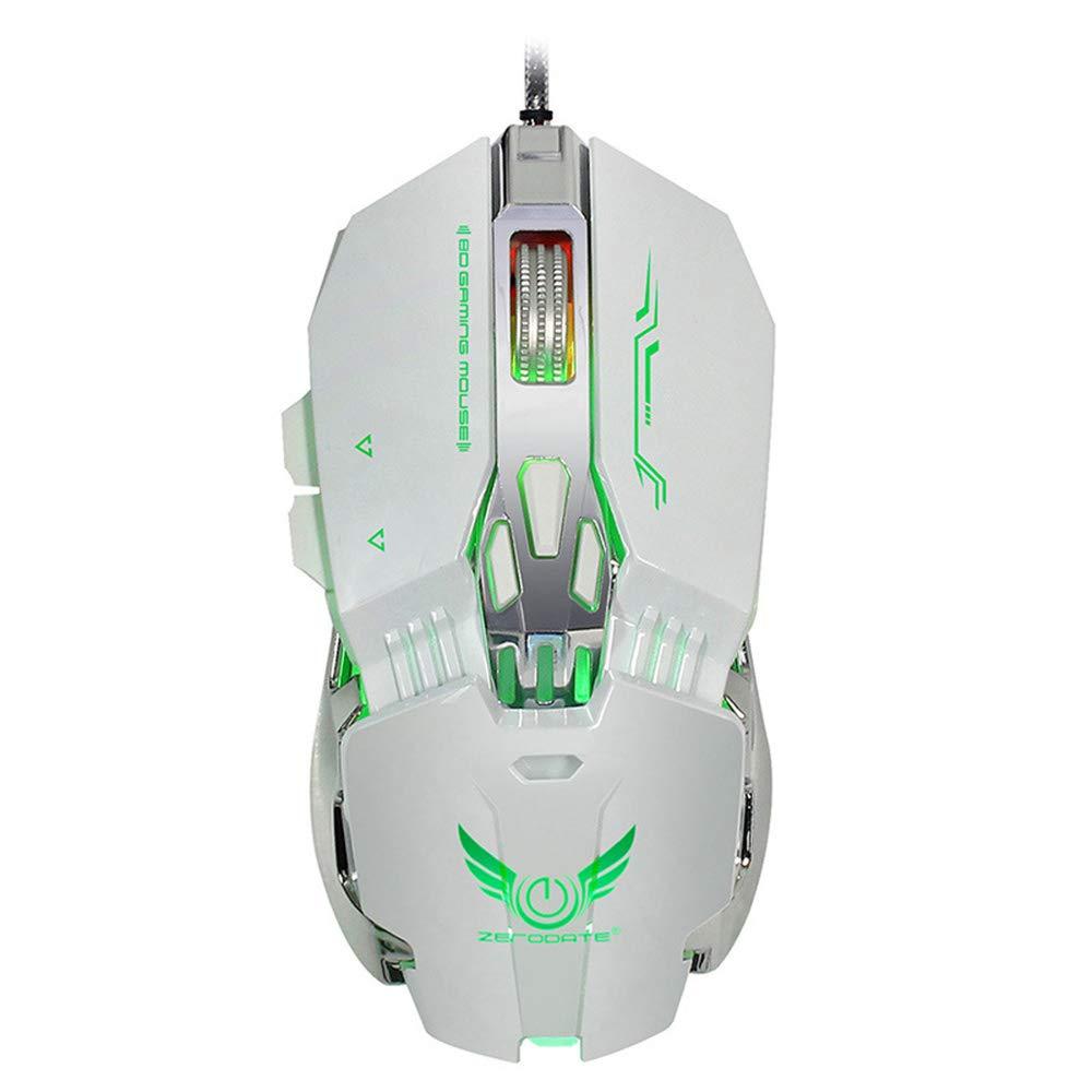 HJL USB Computer Mouse, Wired Mouse Rainbow Glare Ergonomic Design 8 Programmable Keys Cooling LED Variable Light Effect 4-Level Adjustable DPI Large 3200 DPI