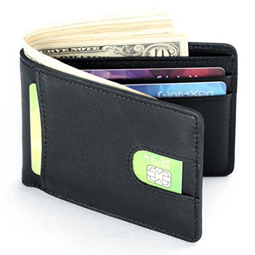 Mens Leather Wallet Slim Front Pocket Wallet Billfold ID Window RFID (Leather Id Wallet)