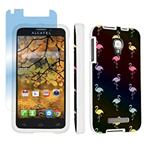 Alcatel One Touch Fierce 7024W White Full Protection Designer Case + Screen Protector By SkinGuardz - Black Flamingos