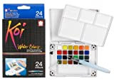 Sakura XNCW-24N, 24 Assorted Watercolors Field Sketch Set with Brush