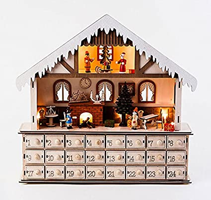 Led Lighted Wooden Bavarian Scene Advent Calendars Christmas Decoration With 24 Storage Drawers House