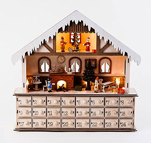 LED Lighted Wooden Bavarian Scene Advent Calendars - Christmas Decoration with 24 Storage Drawers (House)