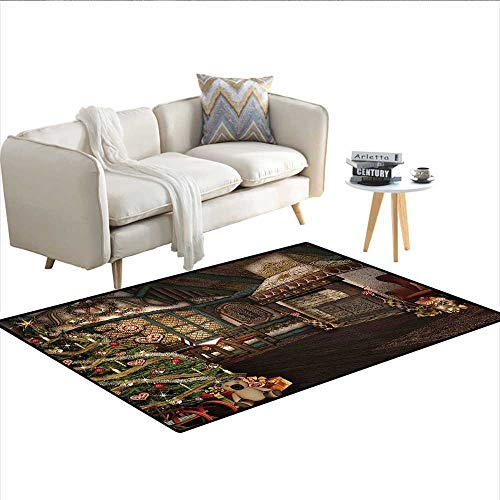Rug,Inner View of a Xmas House Mistletoe Yuletide Winter Season Celebration Image,Floor Mat for Kids,Taupe Brown ()
