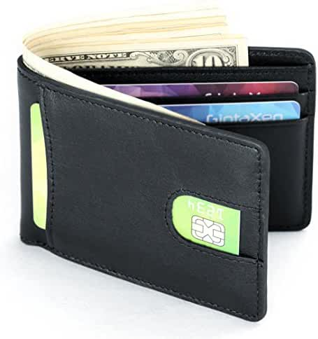 Mens Leather Wallet Slim Front Pocket Wallet Billfold ID Window RFID Blocking