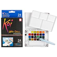 Sakura XNCW-24N 24-Piece Koi Assorted Water Colors Field Sketch Set with Brush