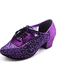 TDA QJ9005 Womens Low Heel Net Salsa Tango Ballroom Latin Wedding Party Dance Shoes