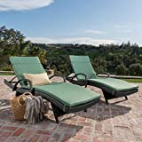 Olivia Patio Furniture ~ Outdoor Wicker Chaise Lounge Chair with Arms w/ Water Resistant Cushions (Set of 2) (Jungle Green)