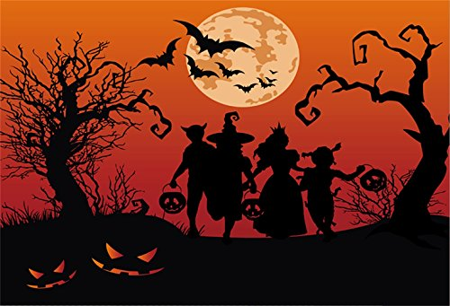 Laeacco Halloween Theme Backdrop 7x5ft Vinyl Photography Background Bloody Night Grinning Pumpink Lamp Running Friends Dressed Up Children Trick or Treat Party Greeting Card Kids Baby Shoot -