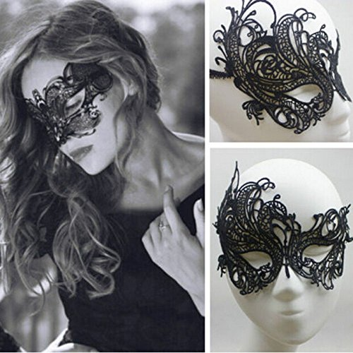 1 X Sexy Beautiful Women Lady Black Lace Floral Eye Mask Venetian Masquerade Fancy Party Birthday Christmas Dress (Black)