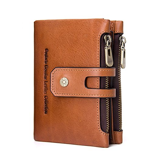 Nice Coffee everyday Asdflina for With Touch Refinement Leather Thirty Package Zero Wallets Suitable Wallet Zipper Genuine use Brown High Color Percent qOqHA