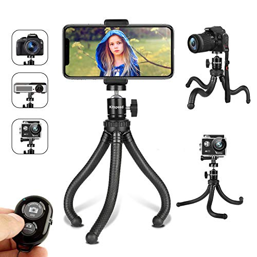 Phone Tripod, Kitspeed Flexible Tripod for iPhone, Camera and GoPro, Camera Tripod with Phone Holder with Remote Control, Strap and Storage Bag