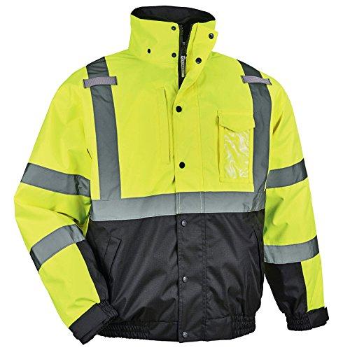 Ergodyne GloWear 8381 High Visibility Reflective Bomber Jacket with Zip-Out Black Fleece, Large, Lime by Ergodyne (Image #2)