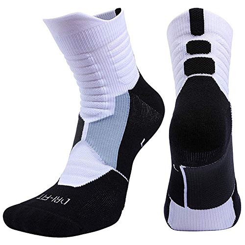 Mid Calf Athletic Compression Ankle Sport Socks For Men and Women,Basketball,Running, Tennis,Soccer,Sporty Socks. (L)