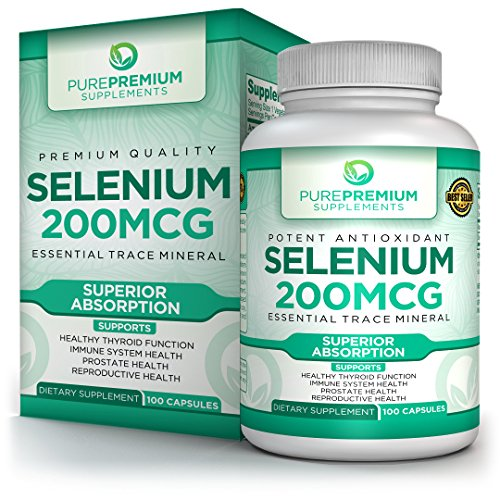 Premium Selenium Supplement by PurePremium | Thyroid & Immunity Support Dietary Supplement | Cardiovascular Health & Healthy Metabolism | Powerful Antioxidant Formula for Prostate Health | 100 Caps (Caps Singles Herbal 100)