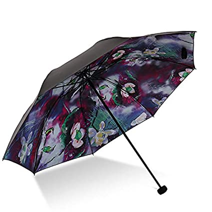 Paraguas plegable automatico Mujer niño Hombre an Negro plástico Anti-UV - Protector Solar Paraguas
