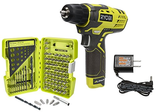 Ryobi Cordless 8-Volt Drill Driver with 70 Piece Drill Bit Set (Bundle) (Set Drill Cordless Ryobi)
