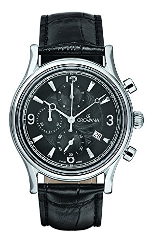 Grovana Men's 'Traditional' Swiss Quartz Stainless Steel and Leather Casual Watch, Color:Black (Model: 1728-9537)