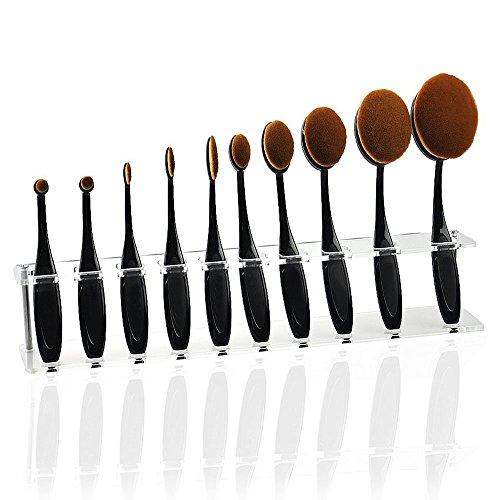 UPC 723980349104, WOVTE Professional 10 Hole Makeup Cosmetics Brush Organizer Holder Acrylic Clear Drying Rack Storage Display Shelf Designed for Toothbrush Shape Oval Makeup Brush