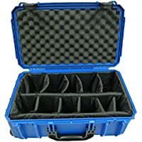 CVPKG presents Blue Seahorse 830 case with padded dividers & with wheels and handle. + TSA Lock