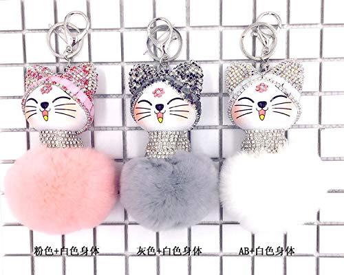 Cat Pompom Balls Lucky Cat Fat Keychain Metal Key Ring Fur Women Bag Charm