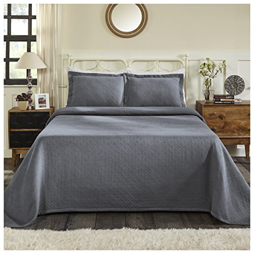 Superior 100% Cotton Basket Weave Bedspread with Shams, All-Season Premium Cotton Matelassé Jacquard Bedding, Quilted-look Geometric Basket Pattern - Queen, Grey