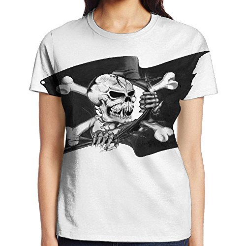 NavyLife Women's Black Ink 3D Pirate Flag Tattoo Casual Crew Neck Baseball Tee Short Sleeves Shirt Slim Fit Sports - Beyonce In Skinny Jeans
