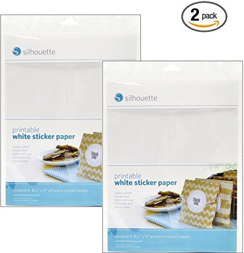 Silhouette Printable White Sticker Paper (2 Pack) from Silhouette America