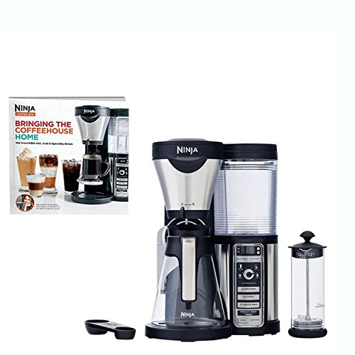 Ninja Coffee Bar Coffee Bar w/Glass Carafe, Frother & 100 Recipe Cookbook CF080W