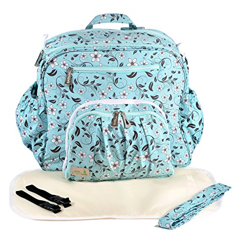 Baby Cedar Diaper Bag Backpack for Mom. Large Baby Organizer. Baby Bag. Light Blue.