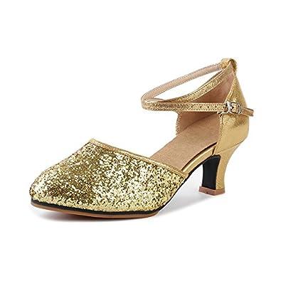 Damen Tanzschuhe Pumps Latin Schuhe Gesellschaftstanz Schuhe hochhackig  Pailletten Sexy Gummi Gold Asiatisch 34/EU