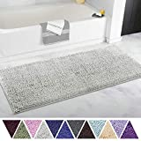 ITSOFT Non Slip Shaggy Chenille Soft Microfibers Bathroom Rug with Water Absorbent, Machine Washable, 21 x 47 Inches Light Gray