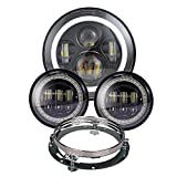 Dot Appoved Black Harley Daymaker 7inch LED Headlight and 4.5inch Running Passing Lamps with White DRL/Amber Turn Signal for Harley Davidson Motorcycles with Adapter Ring and wire adapter
