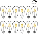 LED Edison Bulb Dimmable, Warm White 2700K, 40W Equivalent, 4W ST64 Vintage LED Filament Light Bulbs, E26 Medium Base, Pack of 12