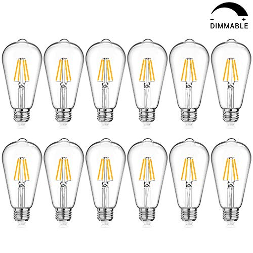LED Edison Bulb Dimmable, Warm White 2700K, 40W Equivalent, 4W ST64 Vintage LED Filament Light Bulbs, E26 Medium Base, Pack of 12 (Lamp Accent 40 Watt Traditional)