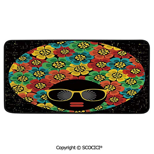 Rectangular Area Rug Super Soft Living Room Bedroom Carpet Rectangle Mat, Black Edging, Washable,70s Party Decorations,Abstract Woman Portrait Hair Style with Flowers,39