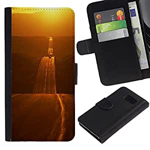 Paccase / Billetera de Cuero Caso del tirón Titular de la tarjeta Carcasa Funda para - Gold Road Freedom Open Highway - Samsung Galaxy S6 SM-G920
