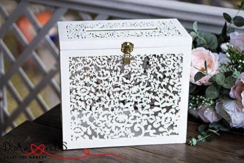 Wedding Card Box with Slot, Card Box with Lock, White Wedding Money Box, Wedding Card Holder, Wooden Card Box, White Card Box, Keepsake Box