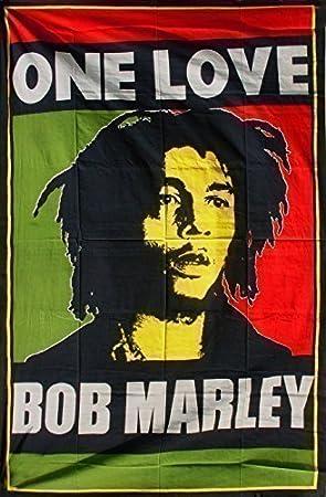 linge de lit bob marley Jeté de lit une personne canapé motif BOB MARLEY ONE LOVE REGGAE  linge de lit bob marley